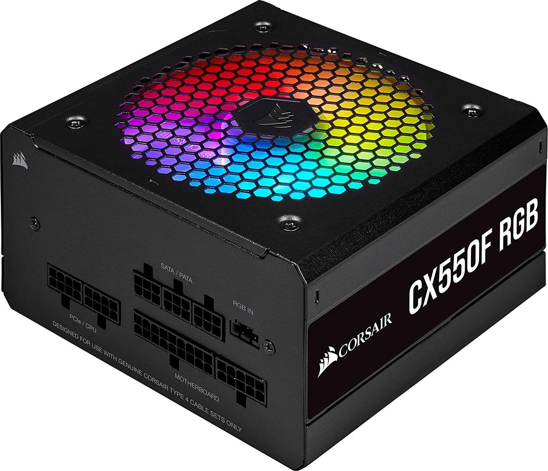 Corsair CX550F RGB vollmodulares 550W ATX-Netzteil 80+ Bronze (120-mm-RGB-Lüfter, 105 °C Kondensatoren, iCUE) in Schwarz oder Weiß