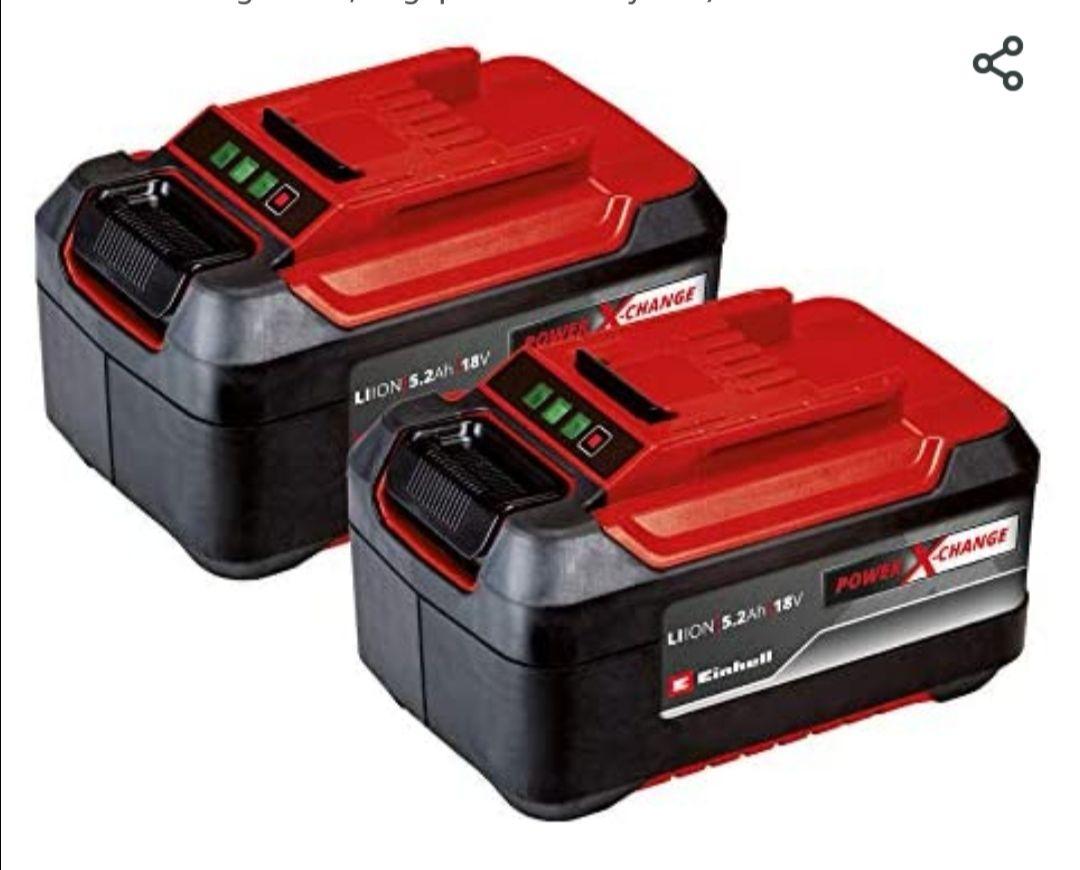 OriginalEinhell Akku PXC-Twinpack 5,2 Ah Power X-Change (Li-Ion, 18 V, 2x 5,2 Ah-Akkus,