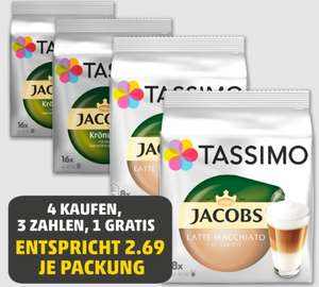 [Penny] Tassimo 4 Kaufen, 3 Zahlen! 1 Gratis für 10,77 €, was einen Paket Preis a 2,69 € entspricht