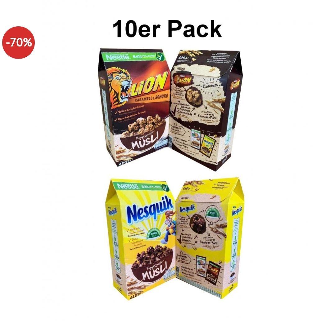 [Dealclub] 10er Nestle XXL Müsli Box (2 Sorten gemischt) Lion Nesquik