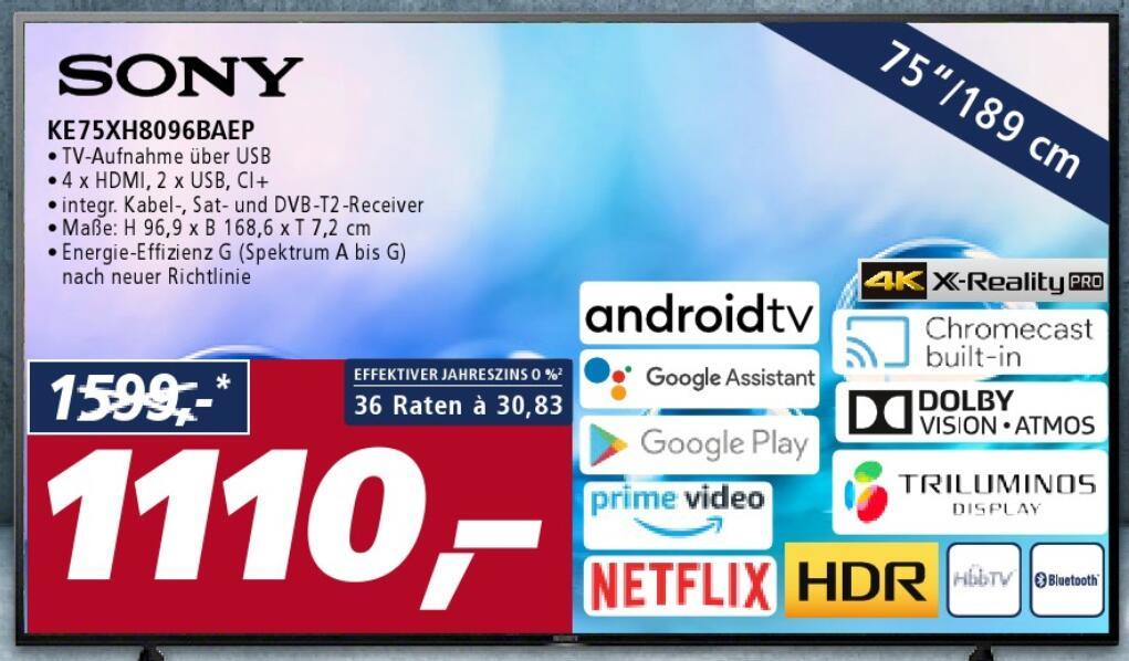 """75"""" Sony Fernseher KE75XH8096BAEP - real F&F nur am 31.05.2021 für eff. 888€"""