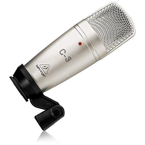 [Prime] Behringer C-3 Studio Kondensator Mikrofon/ Großmembranmikrofon (XLR-Anschluss, mit Case, Mic-Klemme/ -Adapter, 48V Phantomspeisung)