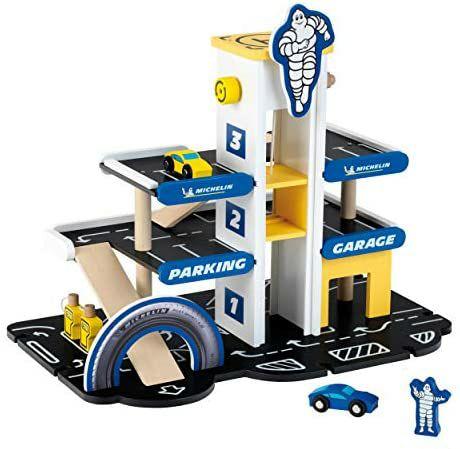 Theo Klein 3404 Michelin Parkhaus mit 3 Ebenen, Holz I Parkgarage inkl. 2 Autos, Maße: 46 cm x 29 cm x 39 cm [Amazon Prime]