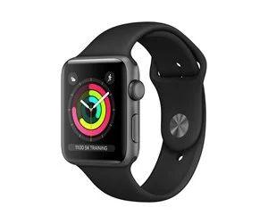 Apple Watch Series 3 (GPS) 42 mm, Space grau Aluminium, intelligente Uhr mit Sportband, Flouroelastomer, Handgelenkgröße: 140-210 mm,