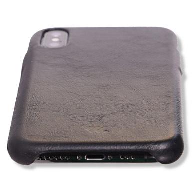 WIEZ Lederhülle (Backcover) in Schwarz für iPhone X und Xs - Echtleder -