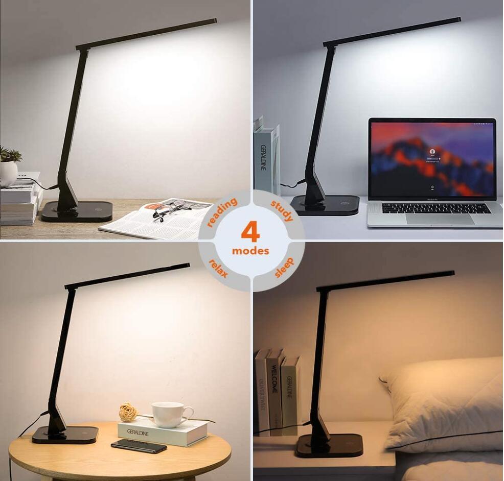 [Amazon Prime] TaoTronics LED Schreibtischlampe Schwarz ( dimmbar mit 4 Farbmodi & 5 Helligkeitsstufen, USB-Ladeanschluss, Memory-Funktion )