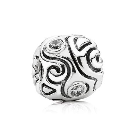 Gemustertes Charm für euer Armband von PANDORA aus 925er Silber mit weißem Zirkonia-Besatz