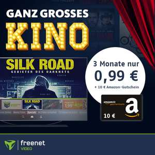 Eff. 9,01€ Gewinn durch 10€ Amazon Gutschein mit 3 Monaten Freenet Video für 0,99€ - z.B. mit Boss Level (IMDB 6,9) od. Silk Road (IMDb 5,9)
