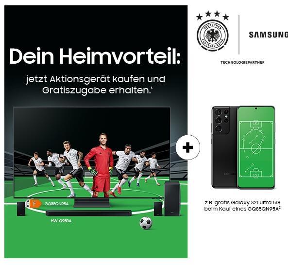 """SAMSUNG """"Dein Heimvorteil"""" – Samsung Aktions-TV oder Aktions-Soundbar kaufen und eine Gratiszugabe erhalten."""