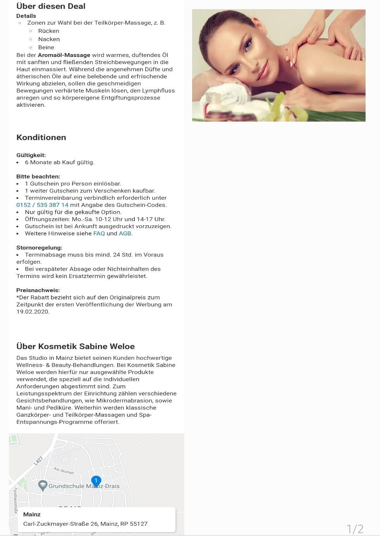 Kosmetik Sabine Weloe (Massage 45min/60min)