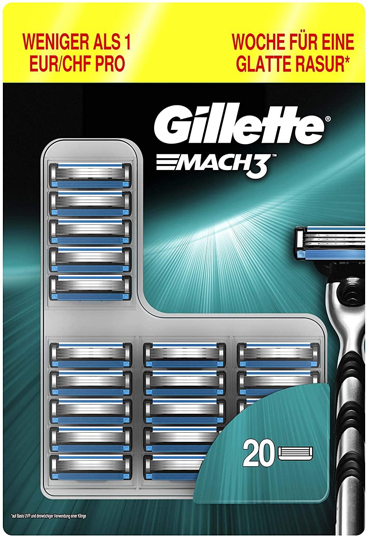 20 Gillette Mach3-Klingen für 20,45 Euro (1,02 Euro pro Klinge) (Amazon Prime)