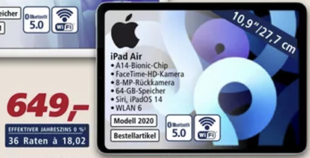 [real Family&Friends] iPad Air (2020) 64 GB für 519,20€ (statt 559€)