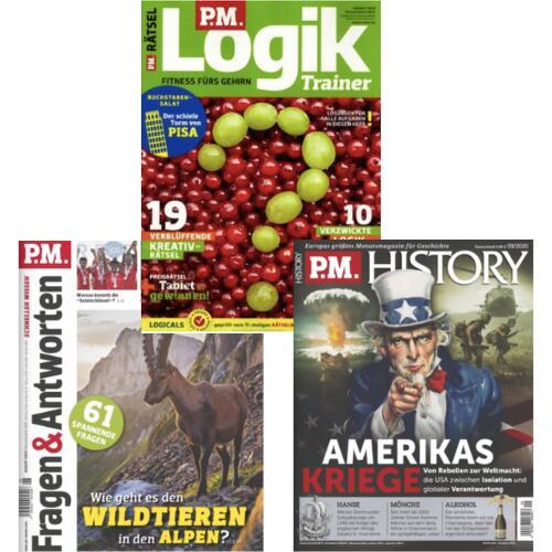 PM Magazine im Abo mit 46,67% Rabatt: PM Logik Trainer 25,60 € - PM History 45,06 € - PM Fragen & Antworten für 30,72 €