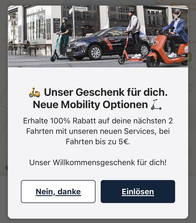 """2 x 5€ FREE NOW Gutschein auf Carsharing und Zweirad (""""100%, je max. 5€"""")"""