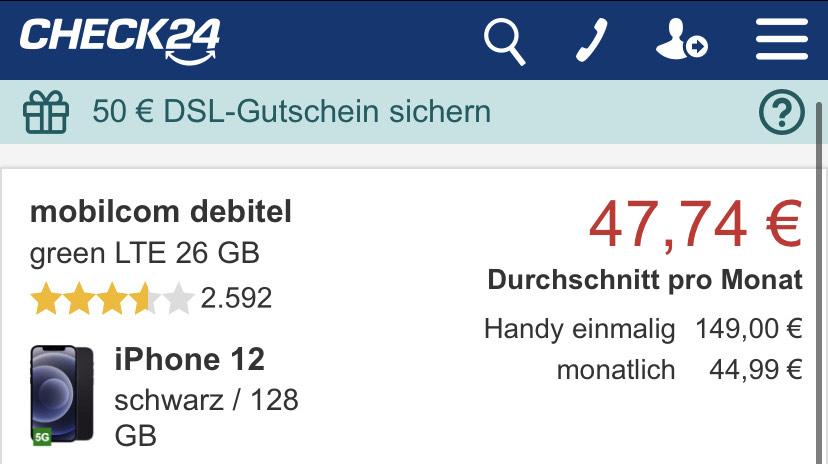 iPhone 12 128 GB Telekom Netz 26 GB LTE 24 Monate