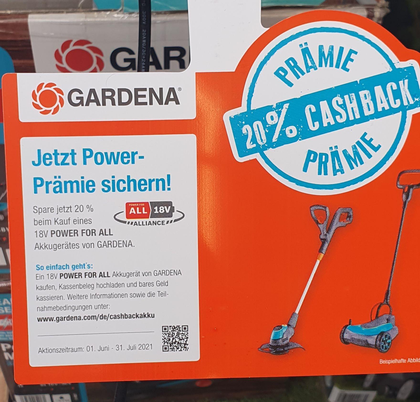 Gardena Power Prämie 20% Cashback auf P4A Akkugeräte