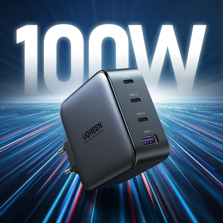 [AliExpress] UGREEN USB-C Ladegerät / Netzteil (100W, 3x USB-C, PD 3.0, Quick Charge 4.0, 1x USB-A, Quick Charge 3.0))
