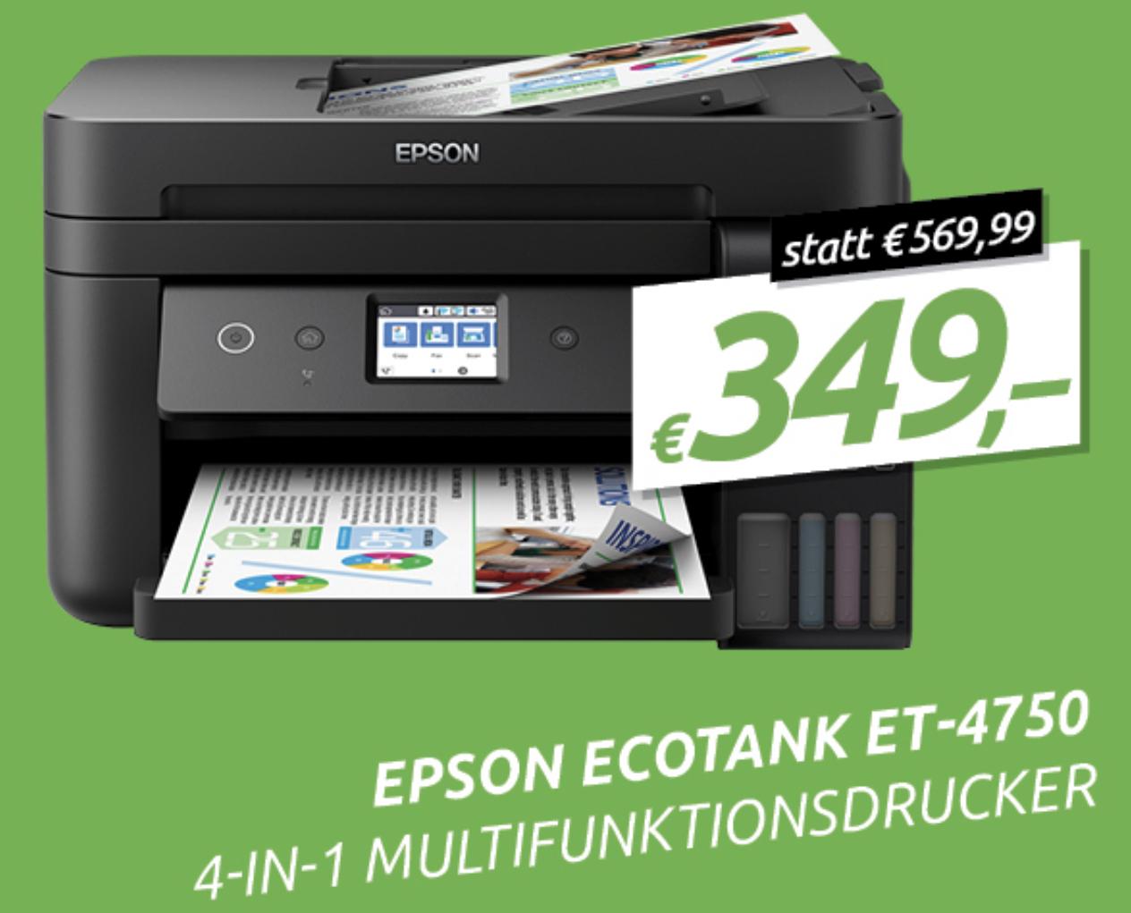 Epson EcoTank ET-4750 4 in 1 Multifunktionsgerät mit Tintentank (Kopierer, Scanner, Drucker, Fax) WiFi direct für 349€ inkl. Versandkosten