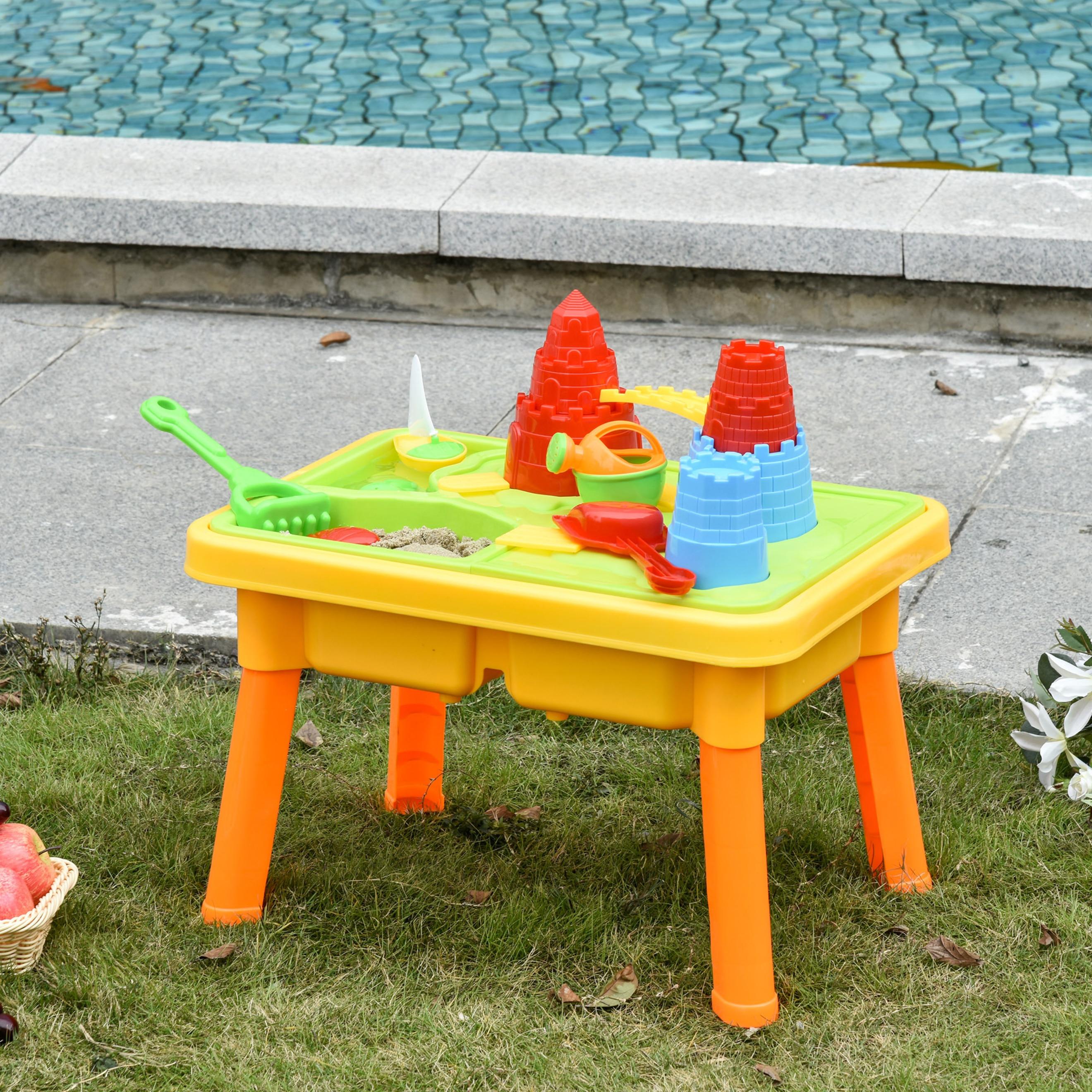 Kinder Sandspielzeug Sandkastentisch mit 23-tlg. Zubehör Spieltisch Strandspielzeug ab 3 Jahren PP Schlossthema 73 x 35 x 70 cm