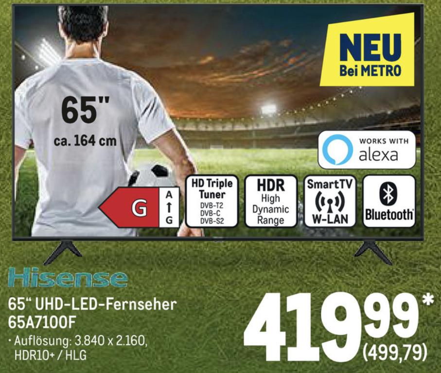 Metro: Hisense H65A7100F 164cm 65 Zoll 4K UHD Smart TV für 499,79€ (mit NL GS 489,79€)