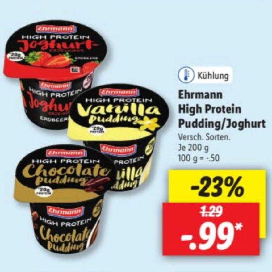 Ehrmann High Protein Joghurt / Pudding bei Lidl 0,99€