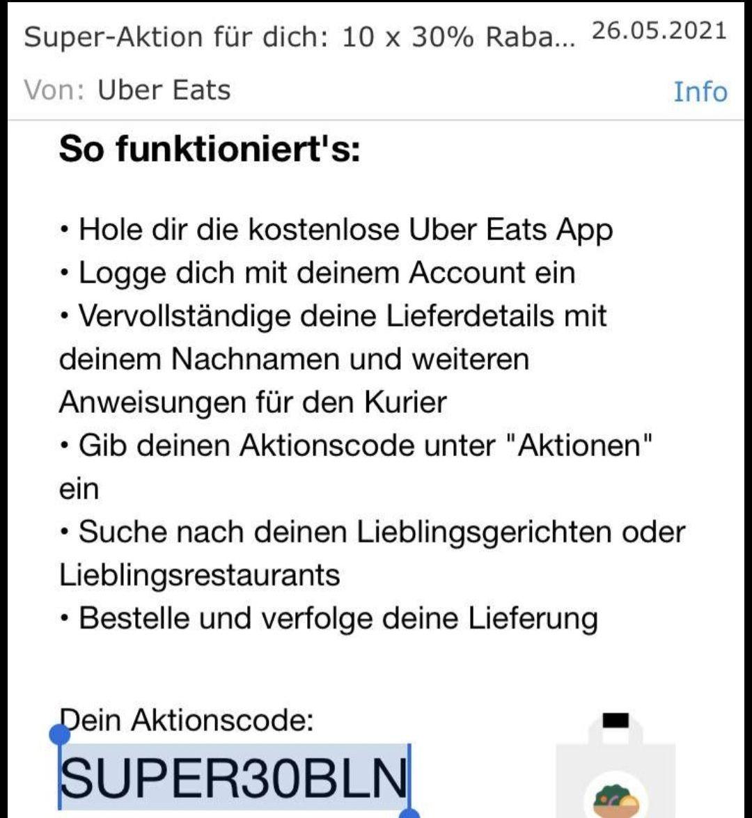 Uber eats 10x30% Rabatt (Berlin)