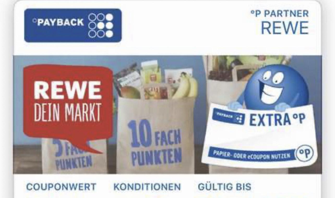 [Payback] Zusätzlicher 15fach auf Alles Coupon ab 2€ bei Rewe   gültig bis 27.06.2021