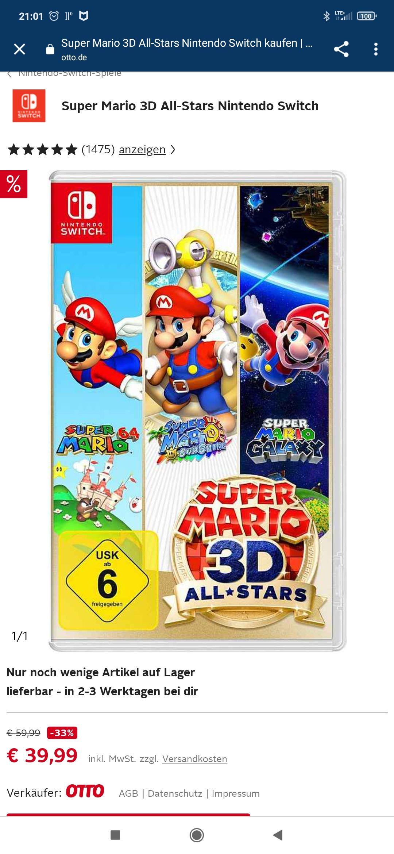Super Mario 3D All Stars für die Nintendo Switch