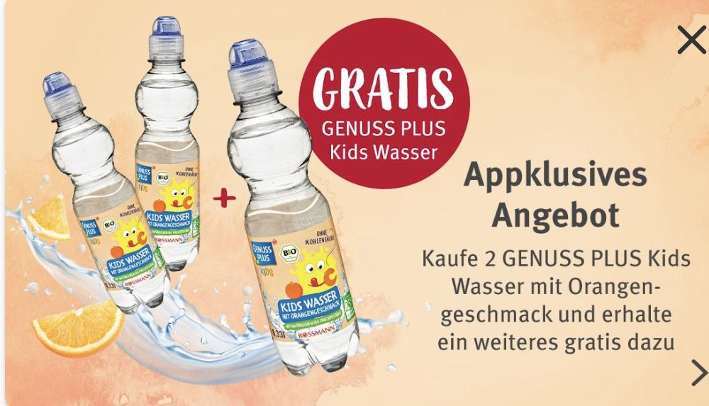 (Rossmann App) 2 kaufen + 1 gratis Aktion, Genuss Plus Kids Wasser mit Orangengeschmack