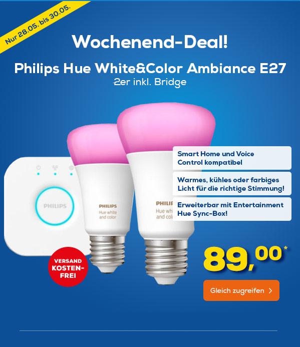 (Euronics) Philips Hue Starter Kit White and Color Ambiance 2 x E27 10W RGBW Inc. Bridge für 89€