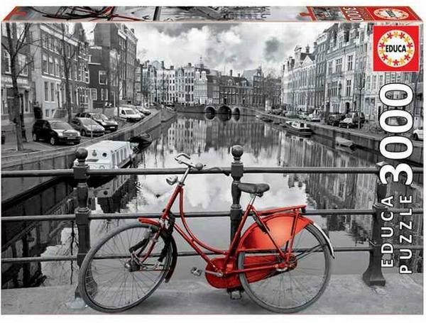 Educa Puzzle 3000 Teile, rotes Fahrrad in den Grachten von Amsterdam, inkl. Fix-Puzzle-Kleber [bol.de]