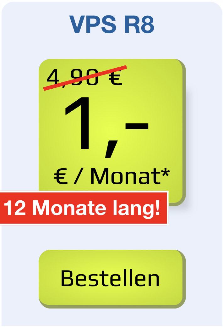 1blu VPS R8 1€/Mon. 4 Kerne, 8GB RAM, 120GB SSD, unlimited Traffic