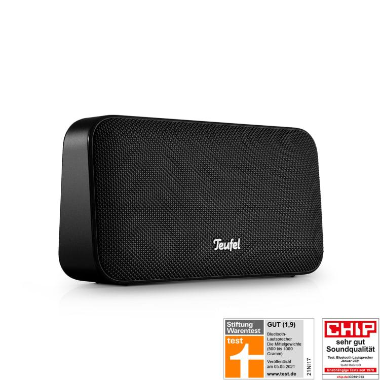 [ Telekom.de ] Teufel - Motiv Go / Bluetooth-Stereo-Speaker ( schwarz ) / IPX5 / bis zu 16 Stunden Laufzeit