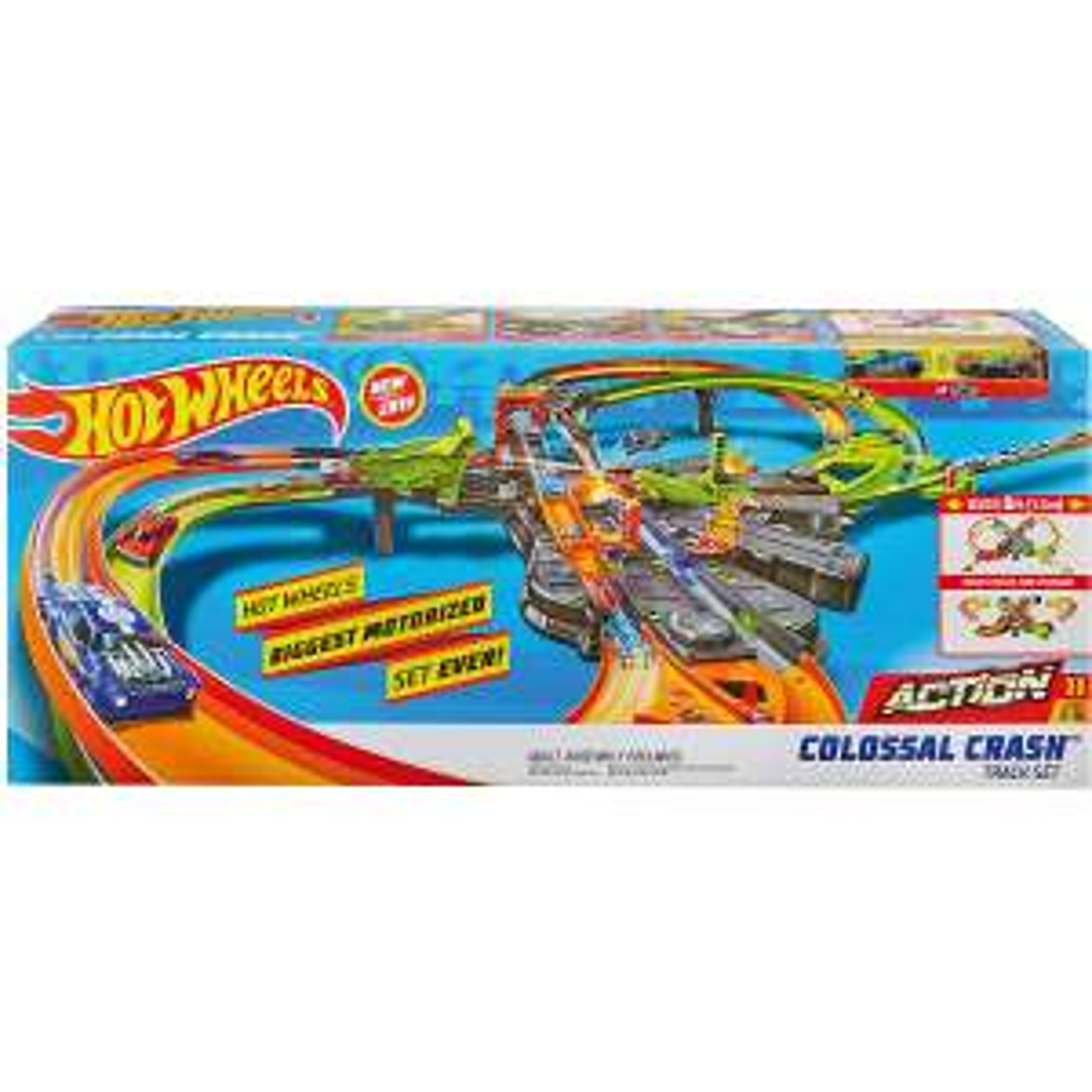Hot Wheels GFH87 Super Mega Crash Große Rennbahn mit 8er Looping Kurve XXL (1,5 m breites Spielset mit Beschleuniger)