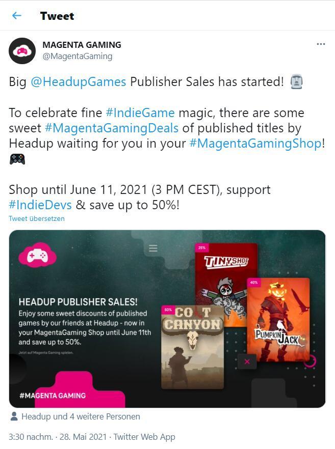 MagentaGaming Shop Sales (bis zu -50%) auf Headup Spiele