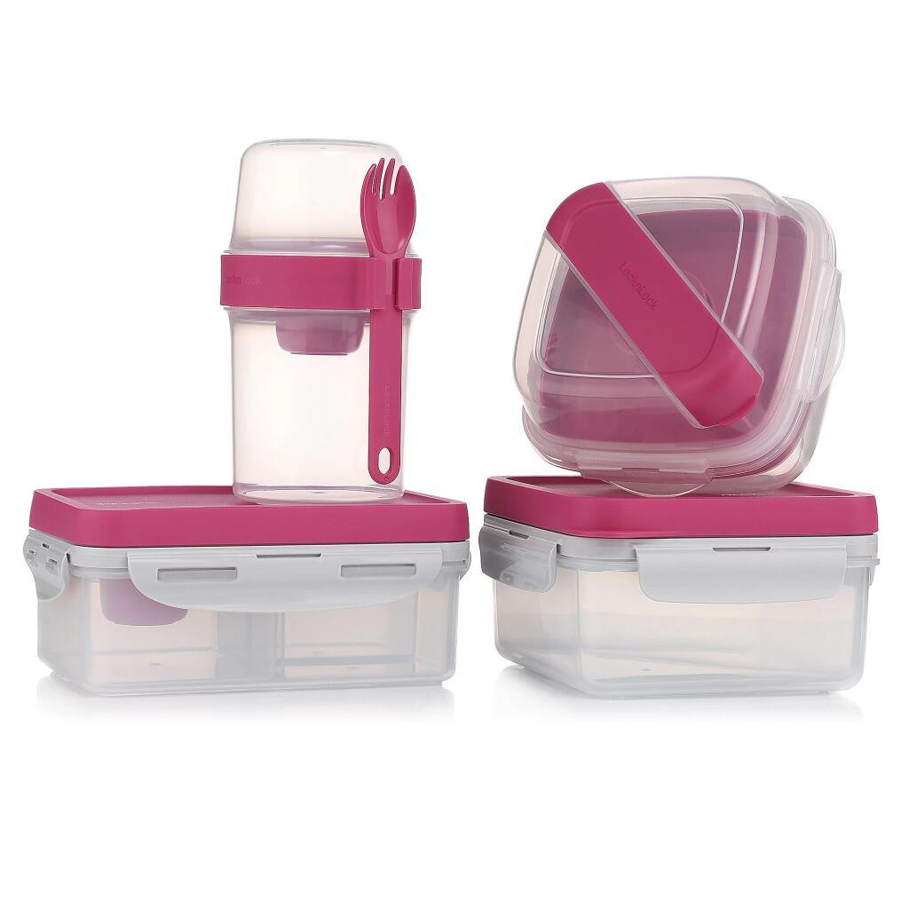 LocknLock Frischhaltedosen Lunch-Box-Set 4-teilig inkl. Zubehör (5 verschiedene Farben zur Auswahl, spülmaschinengeeignet, BPA-frei)