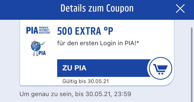 PAYBACK - 500 Extra Punkte für 1. PIA-Login (personalisiert)