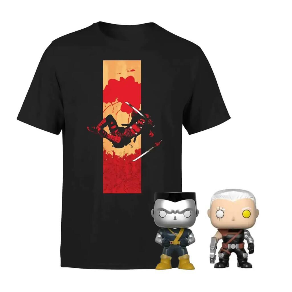 Deadpool T-Shirt (100% Baumwolle) & 2 Pop! Vinyl im Bundle