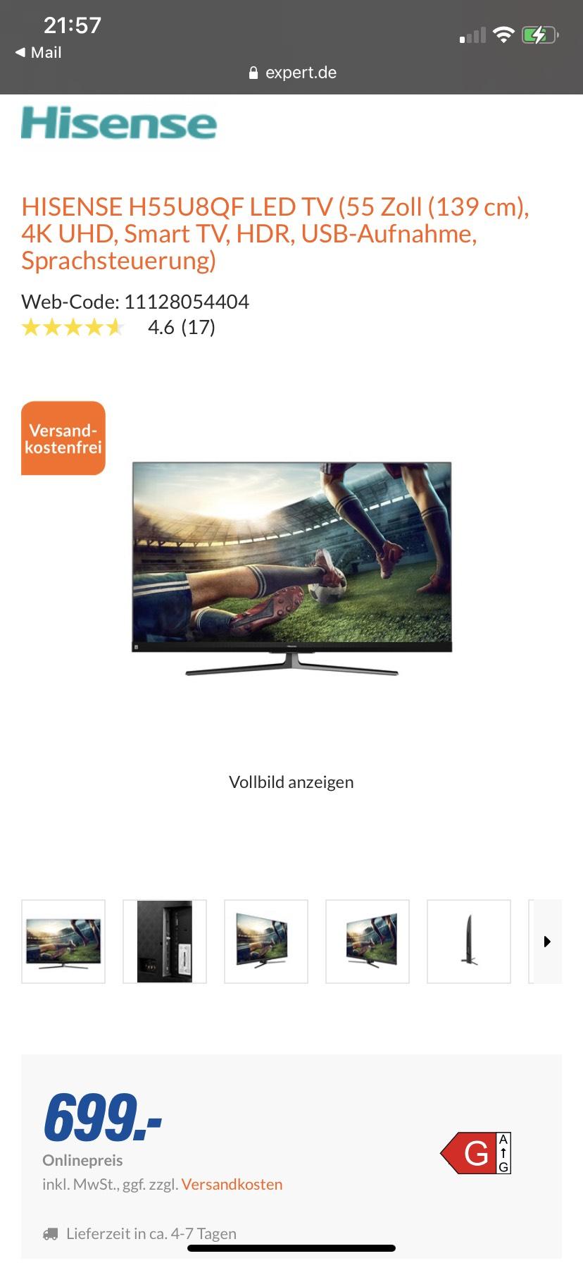 Hisense 55 U8QF HDR 4K UHD TV QLED