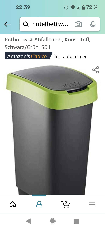 Rotho Mülleimer 50l in Farbe schwarz- grün