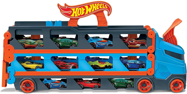 Hot Wheels GVG37 - 2-in-1 Rennbahn-Transporter zur Aufbewahrung mit 3Fahrzeugen im Maßstab 1:64 [Amazon & Kaufland]