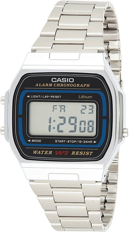 Casio Retro Collection Alarm Chronograph A164WA-1VES Digitaluhr (Edelstahlarmband, 36,8 x 35 mm, beleuchtet, Kalender, Stoppfunktion)