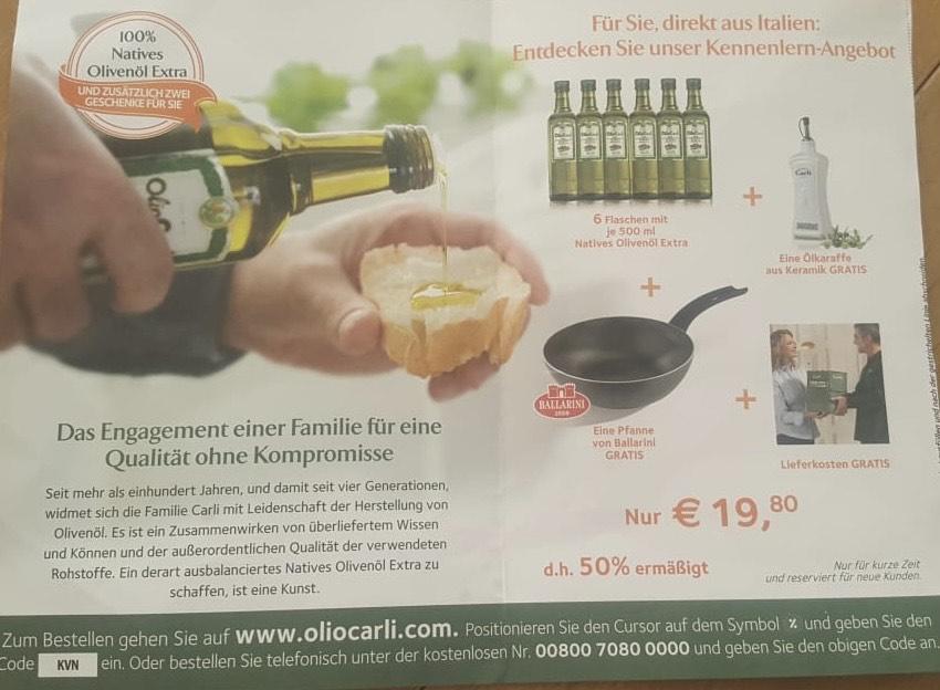 6 Flaschen Olivenöl (0,5l) + Pfanne + Ölkaraffe / Für Neukunden