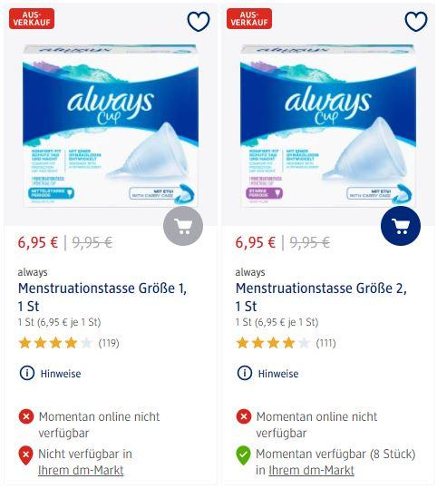 [dm offline] Always Menstruationstasse Größe 1 oder 2 im Ausverkauf für 6,95€