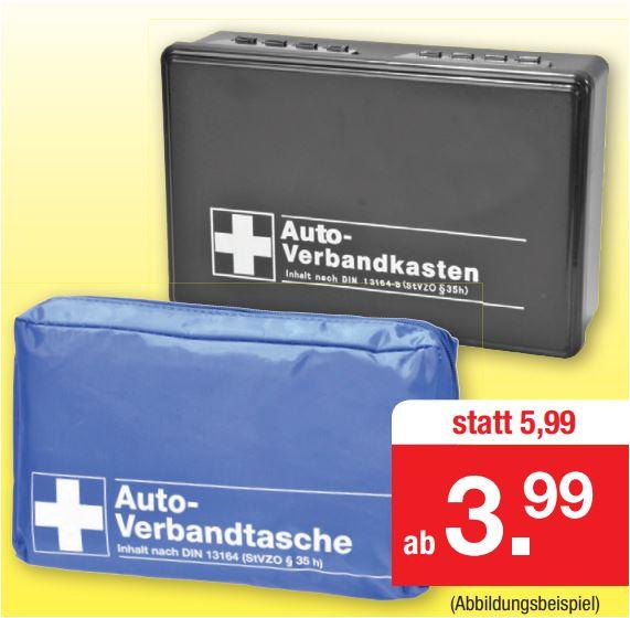 KFZ-Verbandtasche nach DIN 13164 für 3,99 Euro und KFZ-Verbandkasten für 5,99 Euro [Zimmermann]