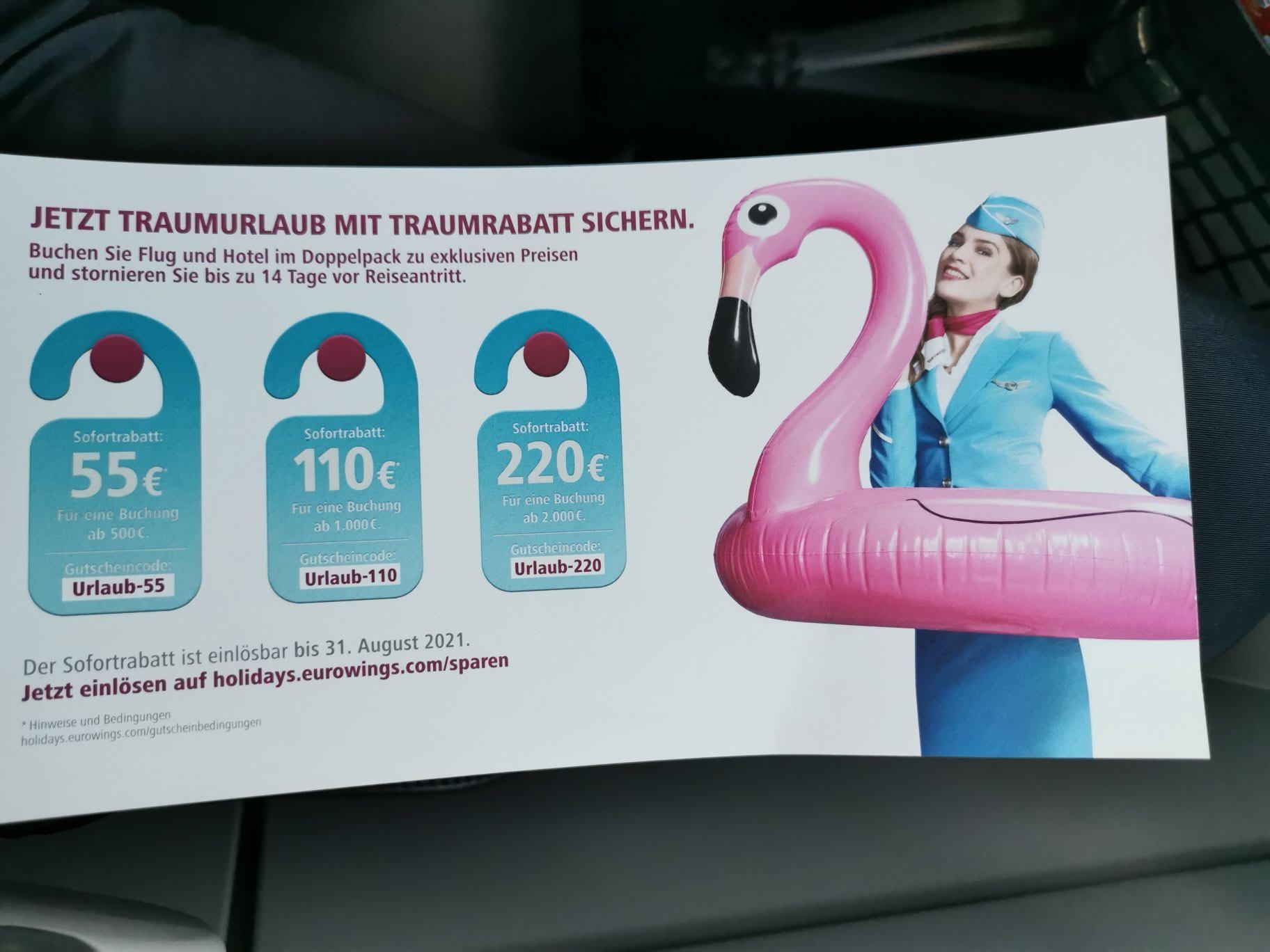 Bis zu 11% auf Eurowings-Holidays Buchungen sparen. Flug + Hotel. Stornierung bis 14 Tage vor Abflug.