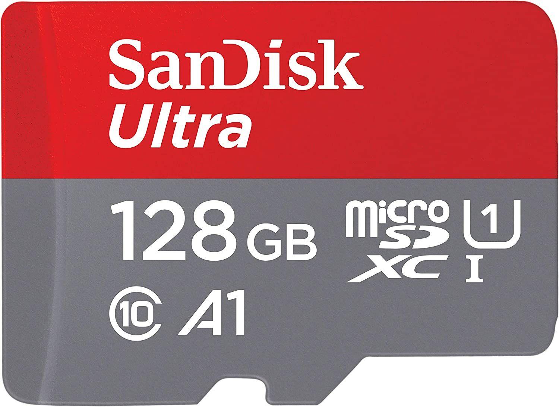 SanDisk Ultra 128 GB microSDXC Speicherkarte + SD-Adapter (bis zu 120 MB/s, A1 Performance, Class 10, U1)