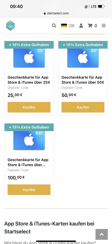 iTunes Guthaben 15% Gutschein auch bei 25€