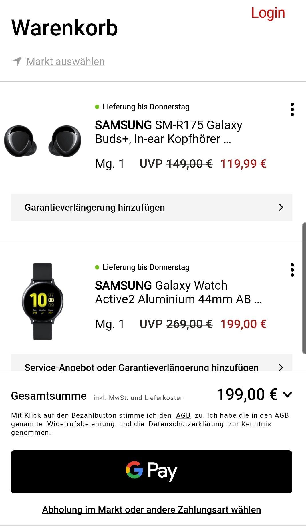 Samsung Galaxy watch active 2 + Galaxy buds plus
