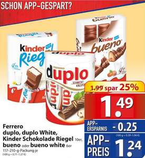 [Famila Nordost] Ferrero Duplo, Kinder Riegel oder Bueno mit App-Gutschein nur je 1,24 Euro (mehrfach einlösbar)